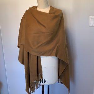 Camel colour fringed shawl